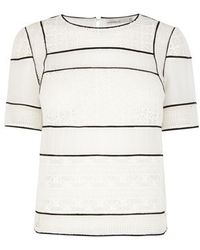 Karen Millen Lace Panelled Top - Lyst