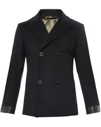 Alexander McQueen Double-Breasted Wool Pea Coat - Lyst