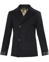 Alexander McQueen Double-Breasted Wool Pea Coat black - Lyst