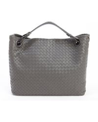 Bottega Veneta New Light Grey Intrecciato Leather Top Handle Tote Bag - Lyst