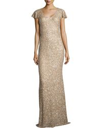 Theia Flutter-Sleeved Sequin Gown - Lyst