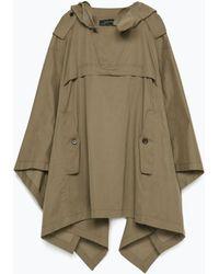 Zara Cotton Cape With Wrap Collar khaki - Lyst