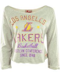 Sportiqe Women'S Long-Sleeve Los Angeles Lakers Crop Top - Lyst