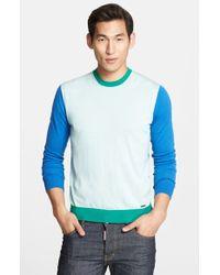DSquared² Colorblock Merino Wool Crewneck Sweater - Lyst