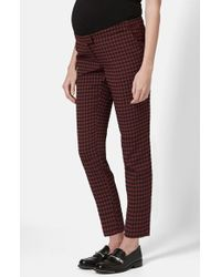 Topshop Houndstooth Cigarette Maternity Trousers - Lyst