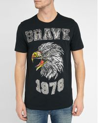 DIESEL | Black Joe-b Eagle Print Round-neck T-shirt | Lyst