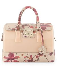 Furla Candy Floral-print Leather Combo Satchel Bag - Lyst