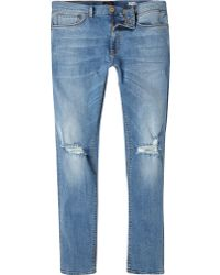 River Island Mid Wash Ripped Sid Skinny Stretch Jeans - Lyst
