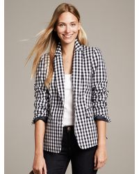 Banana Republic Gingham Two Button Blazer Navy - Lyst