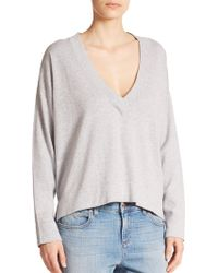 Eileen Fisher V-Neck Boxy Sweater white - Lyst