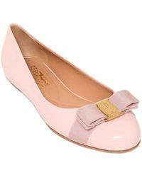 Ferragamo Varina Patent Leather Ballerina Flats - Lyst