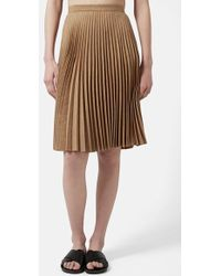 Topshop Pleated Faux Suede Skirt brown - Lyst
