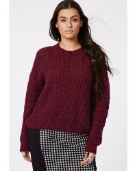 Missguided Plus Size Chunky Knit Sweater Oxblood - Lyst