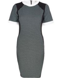 River Island Black and Mint Jacquard Bodycon Dress - Lyst