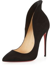 Christian Louboutin - Mea Culpa Flared Suede Red Sole Pump - Lyst