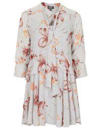 Topshop Floral Print Pussybow Dress - Lyst