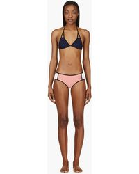 Chloé Pink and Navy Colorblocked Triangle Bikini - Lyst