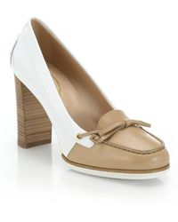 Tod's Gomma Two-Tone Leather Loafer Pumps white - Lyst