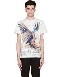 Balmain Cream And Yellow Eagle Print T_Shirt - Lyst