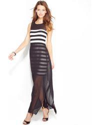 Vince Camuto Striped Chiffon Overlay Maxi Dress - Lyst