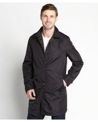 Prada Navy And Olive Reversible Three Quarter Length Raincoat - Lyst