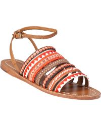 Tory Burch Mixed Trims Flat Sandal Multi Poppy Red Leather - Lyst