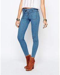 First & I - Lace Up Skinny Denim Jean - Medium Blue Denim - Lyst