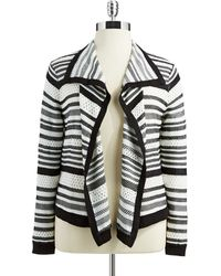 Anne Klein Plus Striped Flyaway Cardigan - Lyst