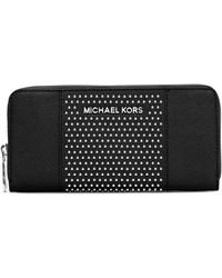 Michael by Michael Kors Leather Microstud Center Stripe Continental Wallet - Lyst