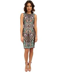 Versace Graphic Print Crew Neck Sheath Dress - Lyst