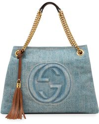 Gucci Soho Medium Blue Denim Tote - Lyst