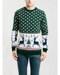 Topman Green Reindeer Christmas Sweater - Lyst