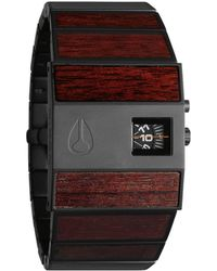 Nixon Rotolog Black Dark Wood Watch black - Lyst