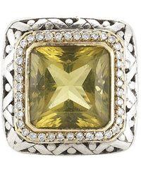 John Hardy Pre-owned Silver Diamond and Lemon Quartz Large Square Ring - Lyst