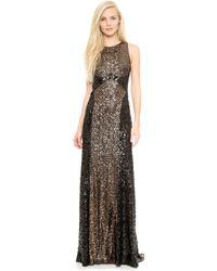 Badgley Mischka Collection Colorblock Sequin Gown  Bronze - Lyst