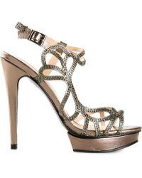 Pelle Moda 'Fey' Embellished Strappy Sandals - Lyst