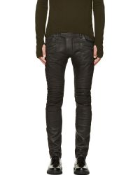 Balmain Black Coated Zebra Stripe Biker Jeans - Lyst