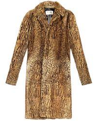 Saint Laurent Single-breasted Animal-print Fur Coat - Lyst