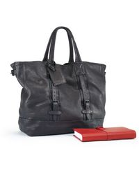 Ralph Lauren Black Label Distressed Leather Tote - Lyst