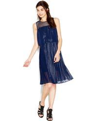 Maison Jules Sleeveless Crochet-Yoke Layered-Look Dress - Lyst