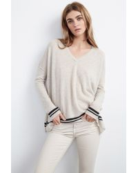 Velvet By Graham & Spencer Stormy Double Stripe Cashmere Sweater beige - Lyst