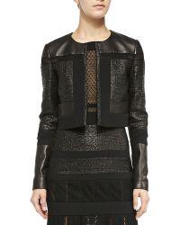 J. Mendel Cropped Leather  Tweed Jacket - Lyst