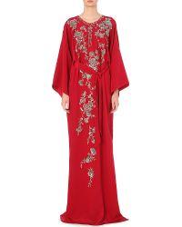 Oscar de la Renta - Embellished Silk Maxi Kaftan Dress - For Women - Lyst