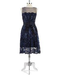 Tadashi Shoji Lace Overlay A Line Dress - Lyst