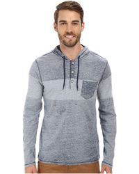 DKNY Long Sleeve Reverse Print Hooded Henley - Lyst