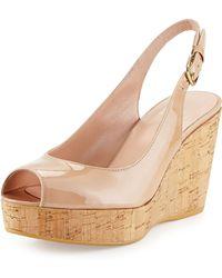 Stuart Weitzman Jean Patent Leather Peep-toe Wedge - Lyst