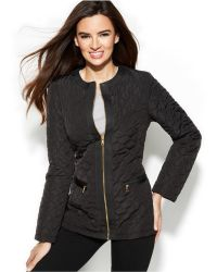 Jones New York Collarless Quilted Jacket With Travel Bag - Lyst