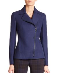 Akris Punto Raw-Edge Wool Moto Jacket blue - Lyst