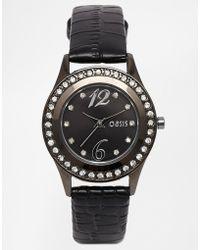 Oasis - Black  Diamante Watch - Lyst