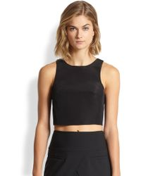 Tibi Silk Faille Cropped Top - Lyst